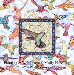 Tiny view of hummingbird painting